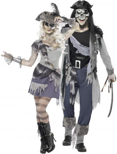 Disfraz de pareja de piratas fantasmas Halloween