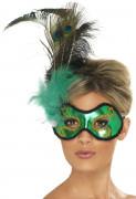 Antifaz verde con plumas para adulto