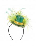 Mini sombrero de copa verde con plumas