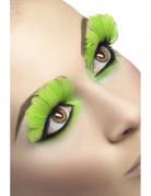 Pesta�as postizas de plumas verdes